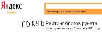 рейтинг Яндекс блогов
