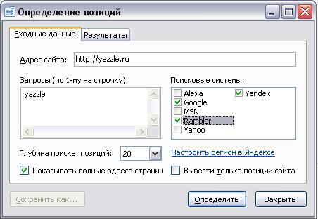 язл: определение позиций сайта